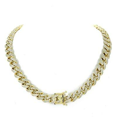 "Men's Cuban Miami Link 20"" Choker Chain 14k Gold Plated 12mm 15ct Lab Diamonds"