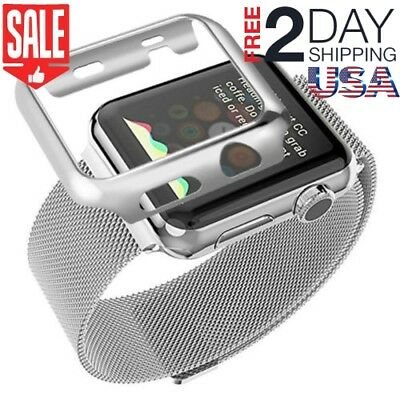 38mm Plated Case Band Strap Stainless Steel for Apple Watch Series 3 2 1 Silver