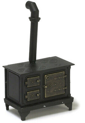 Dollhouse Miniature - Black Metal Kitchen Cook Stove  1/12 scale - Doors Open