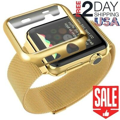 42mm Plated Case Band Strap Stainless Steel for Apple Watch Series 3 2 1 Gold
