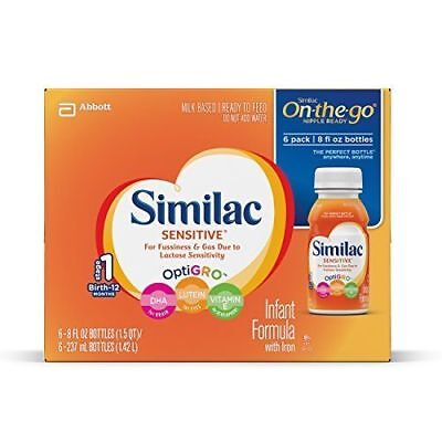 Similac Sensitive Infant Formula with Iron, Ready to Feed, 8 fl oz Pack of 6