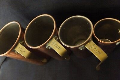 Arts and Crafts copper stacking baking  cup measures. one cup, half cup- etc