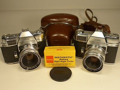 (2) Kodak Retina Reflex III Cameras with (2) f1.9 50mm Lenses,Right Angle Finder