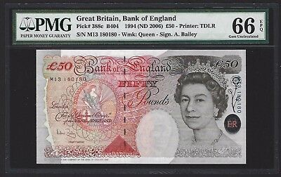 1994 (2006) Bank of England 50 Pounds Great Britain, REPEATER SERIAL NUMBER UNC