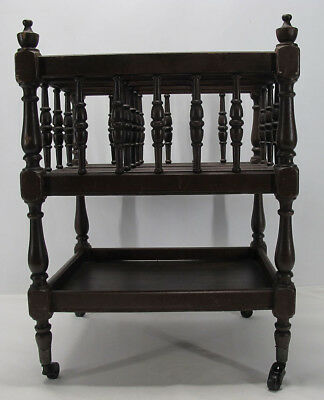 Antique Edwardian Mahogany Canterbury Magazine Newspaper Book Rack 2 Levels yqz