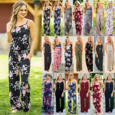 Plus Size Boho Womens Floral Holiday Long Playsuits Dress Trouser Jumpsuit 6-20
