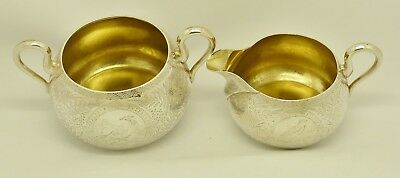 Rare Beautiful Victorian Solid Silver Strawberry Sugar Bowl & Cream Jug Hm 1875