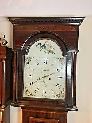 Georgian Mahogany Inlaid Longcase Grandfather Clock Circa 1800