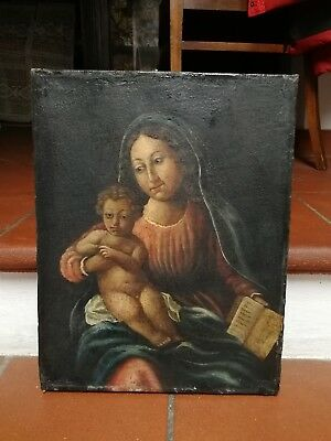 Antico dipinto capoletto Madonna bambino antica tela quadro old painting tableau