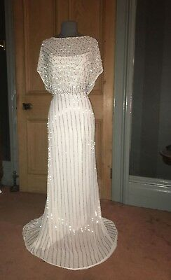 Stunning Bnwot Coast Daya Long White/beaded Evening/wedding Dress, Size 16