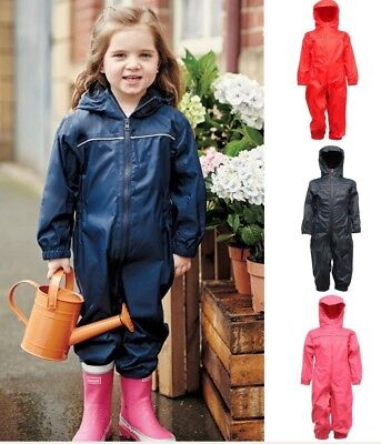 Regatta Kids Children Toddler Waterproof Breathable Hooded Rain Puddle Play Suit