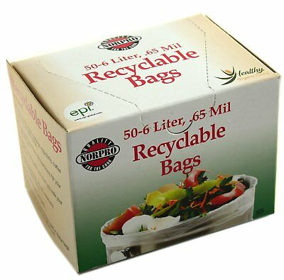Norpro 50 Count Recyclable Bags / Compost Bags - 6 Liter, 0.65 Mil