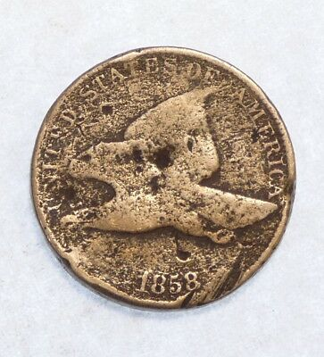 BARGAIN 1858 Flying Eagle Cent with LARGE Letters FINE Small 1-Cent