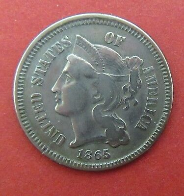 1865 Nickel Three Cent Coin~