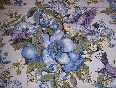 French Country Cottage Tablecloth Birds & Blooms Shabby Blue floral 104 x 74