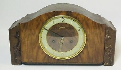 Vtg Antique Art Deco German Gebruder Junghans Mantel Clock with Key 9460