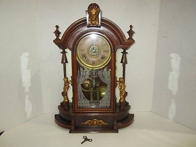 Antique Seth Thomas Kitchen Clock With Alarm Made In Usa 8 Day, Time And Strike