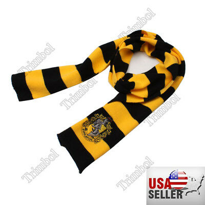 Harry Potter Hufflepuff Knit Wool Scarf  Costume Cosplay US SELLER