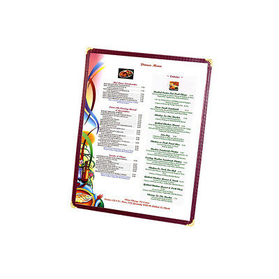 "Menu Cover, Single Pocket, Two Viewing Sides, 8-1/2"" x 11"" Color Burgundy"