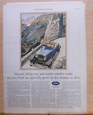 1928 magazine ad for Ford - Smooth riding ease, good car for women to drive