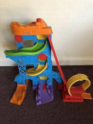 Fisher Price Little People Loops N Swoops Ramp Slide With 12 Cars