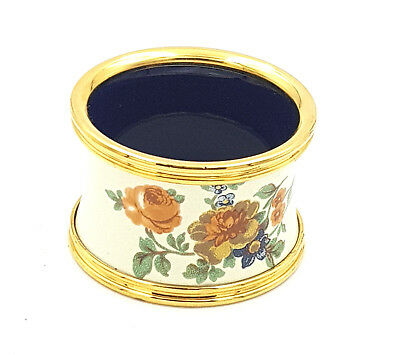 Heritage Stafford Enamels Pink Roses Wild Flowers Leaves Napkin Ring Holder-Bxd