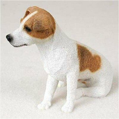 JACK RUSSELL TERRIER (BROWN ROUGH COAT) DOG Figurine Statue Hand Painted Resin
