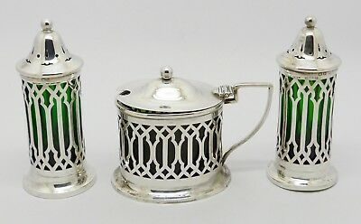 Fine Rare Solid Silver 3 Piece Condiment Cruet Set Mustard Salt & Pepper Hm 1917