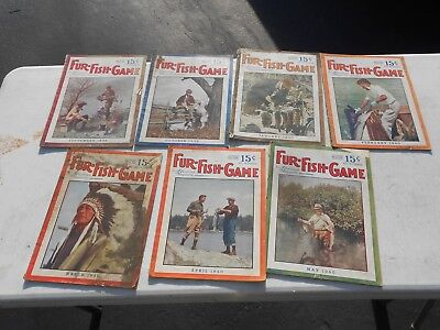 """lot of 7 vintage """"Fur-Fish-Game"""" magazines from 1939-40"""