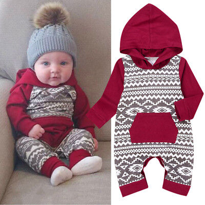 UK Newborn Baby Girl Boy Hooded Romper Bodysuit Jumpsuit Playsuit Clothes Outfit