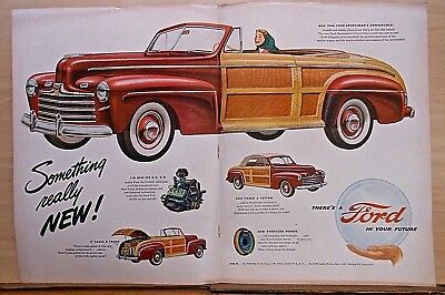 1946 double page magazine ad for Ford - Sportsman's Convertible, wood paneled