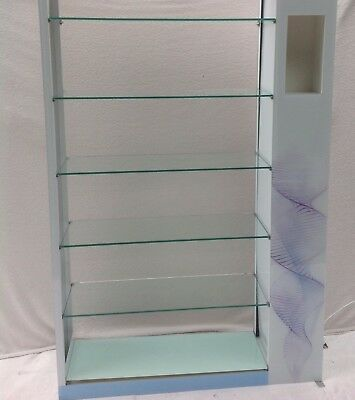 retail glass shelf display with lights