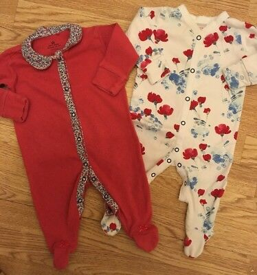 Next Baby Girls Collared/ Floral Tulip Sleepsuits 3-6 Months