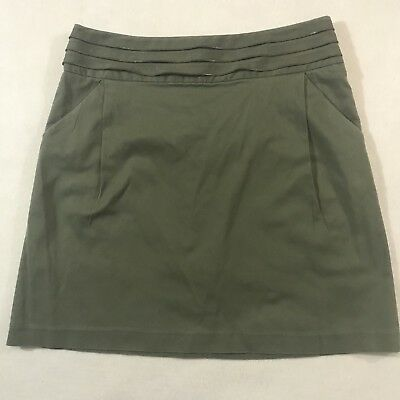 839a34102e Chelsea Theodore Womens 10 Green Military Style Zipper Skirt with Pockets