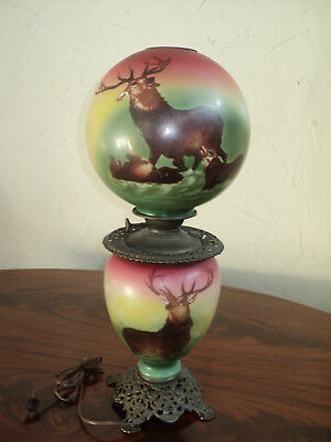 Antique Victorian Gone with the Wind Table Lamp, Elk/Stag Scenes