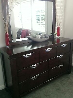 Dark pine dressing table with mirror