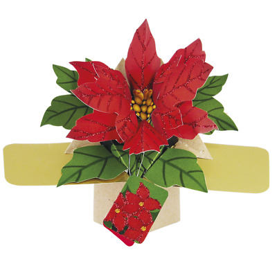 Poinsettias Petite Christmas Pop-Up Greeting Card Second Nature 3D Pop Up Cards