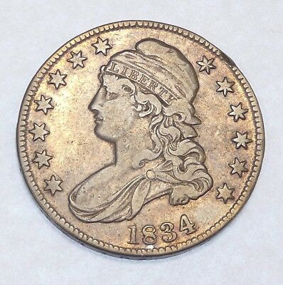 BARGAIN 1834 LARGE Date/SMALL Letters Capped Bust/Lettered Edge Silver 50c VF