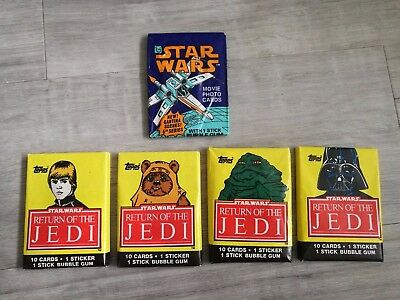5x SEALED Star Wars Topps Wax Packs Unopened Trading Card Packets ANH ROTJ RARE