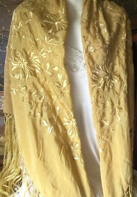 Antique Chinese Hand Embroidered Silk Piano Shawl Flowers Leaves Fringes