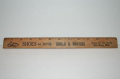 """VINTAGE 12"""" Wood Advertising Ruler Shoes for Boys Sibilla & Watters Port Huron"""