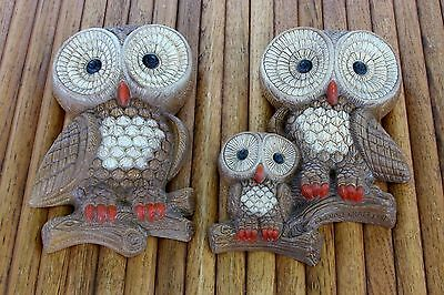 Vintage Owl Family Wall Hangers 1981 Foam Craft USA 2 Pieces LQQK!!!