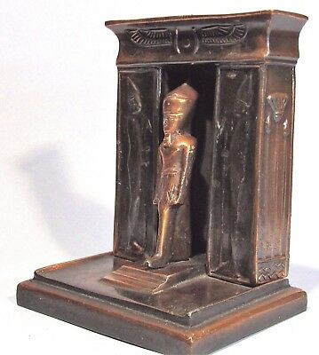 Pharaoh In Karnak Temple Doorway Vintage Bronzed Metal Egyptian Revival Bookend