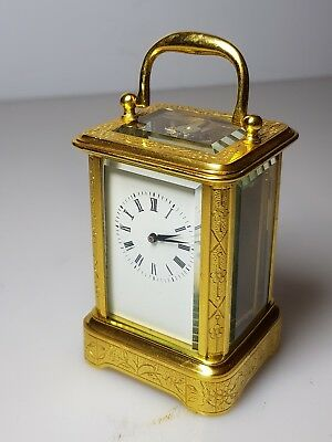 MINIATURE ENGRAVED ANTIQUE FRENCH CARRIAGE CLOCK  c.1890