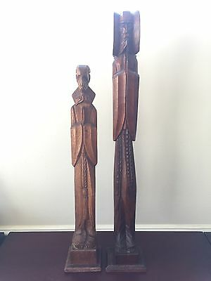 Vintage Casa Regalos Curios Catholic Priest Wooden Hand Crafted Statues x 2