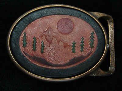 QE05174 *NOS* VINTAGE 1970s **MOUNTAIN FOREST** LEATHER ART SOLID BRASS BUCKLE
