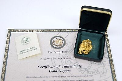 2.22 OZT Natural Australian Gold Nugget COA from The Perth Mint 09979
