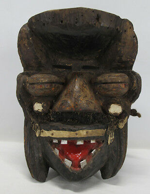 Antique African We Wobe Guere Tribal Hand Carved Wood Mask Côte d'Ivoire NR yqz