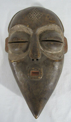 Antique African Democratic Republic of Congo Lulua Tribe Carved Wood Mask NR yqz