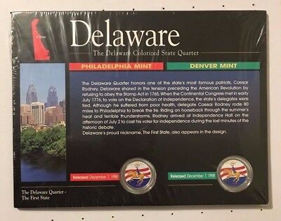 1998 P/D Deleware Colorized State Quarters From The American Historic Society